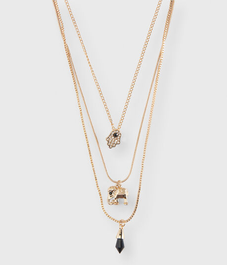 Elephant Layered Short-Strand Necklace