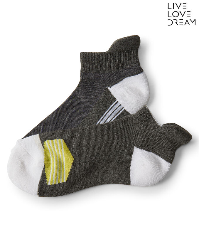 LLD 2-Pack Colorblock Stripe Performance Ankle Socks