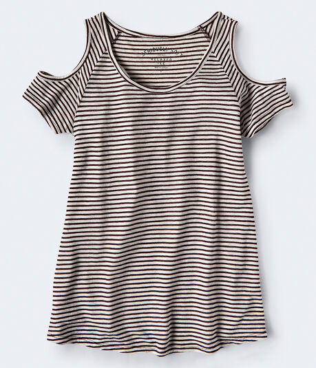 Seriously Soft Striped Cold-Shoulder Tee