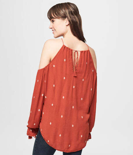 Embroidered Cold Shoulder Peasant Top