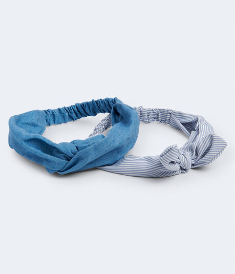 Denim Twist & Stripe Bow Headband 2-Pack