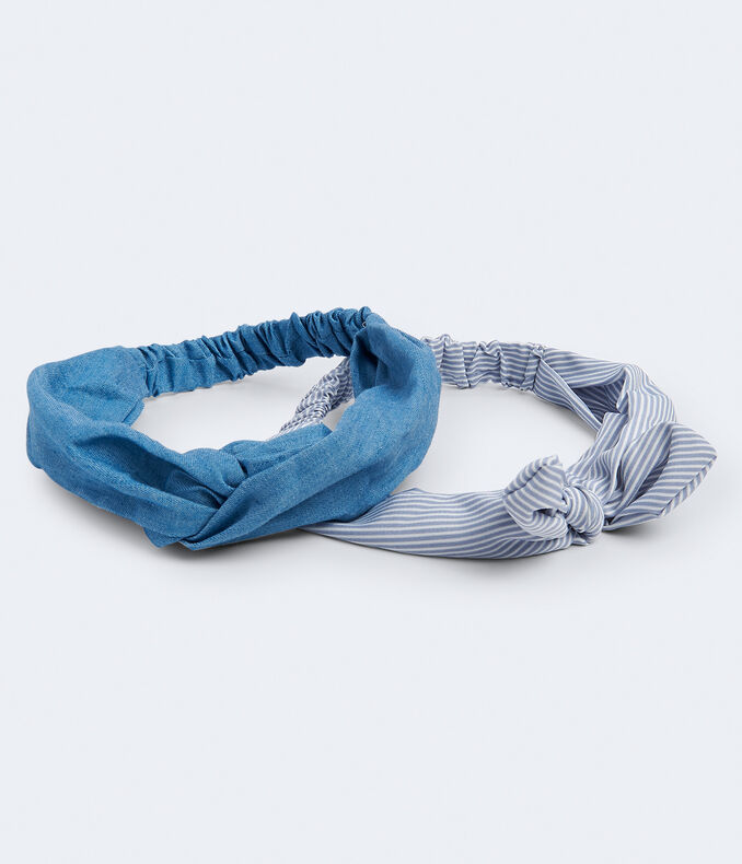 Denim Twist &Amp; Stripe Bow Headband 2 Pack by Aeropostale