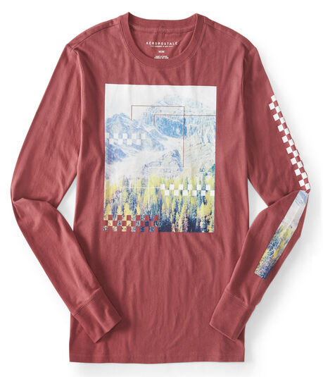 Long Sleeve Mountain Checker Graphic T