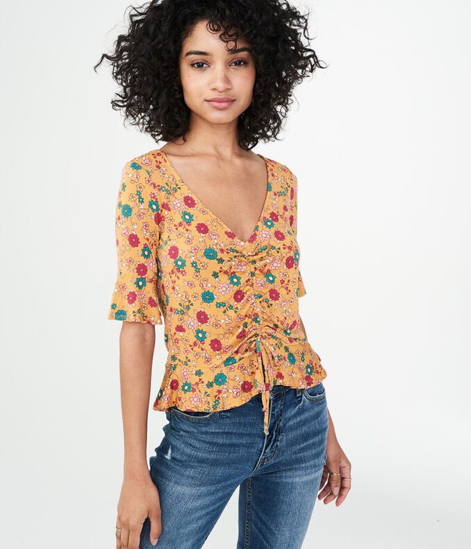 Floral Ruched Peplum Top