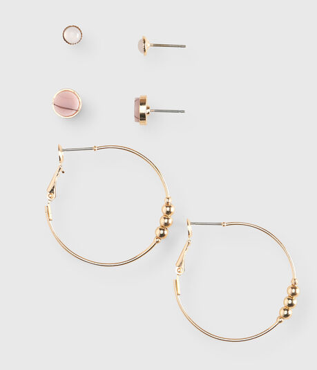 Beaded Hoop & Stud Earring 3-Pack