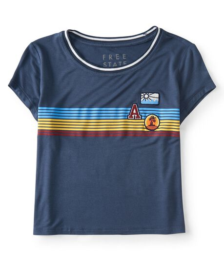 Free State Patches Stripe Ringer Cropped Baby Tee