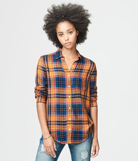 Long Sleeve Autumn Plaid Woven Shirt