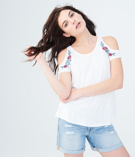 Seriously Soft Embroidered Floral Cold-Shoulder Tee