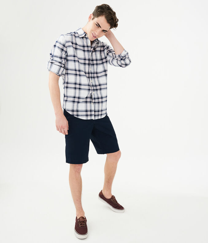 Long Sleeve Oxford Plaid Woven Shirt
