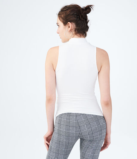 Solid Mock-Neck Ribbed Tank