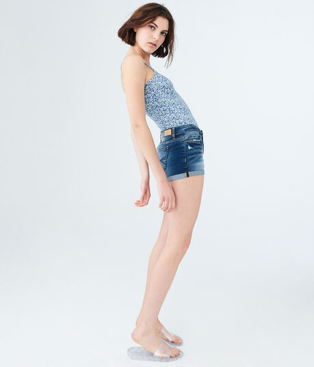 Dark Wash Denim Shorty Shorts
