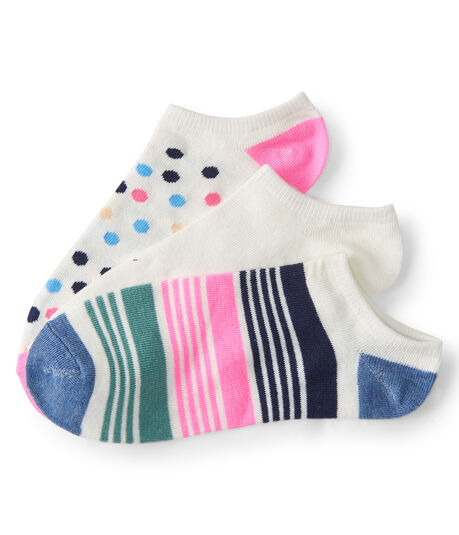 3-Pack Dot, Stripe & Solid Ankle Socks