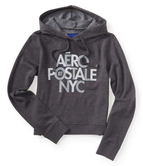 Final Sale -Stacked Aéropostale NYC Pullover Hoodie