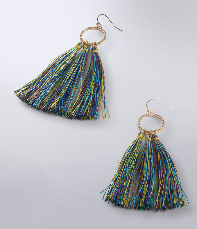 Multicolor Tassel French Wire Earrings