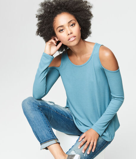 Long Sleeve Ribbed Cold-Shoulder Top