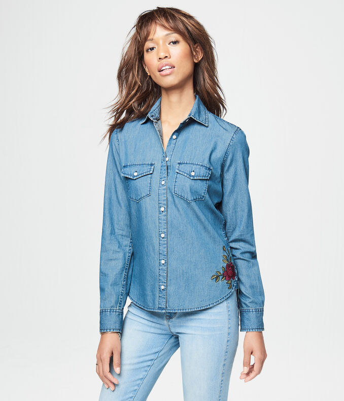 Floral Embroidered Chambray Top