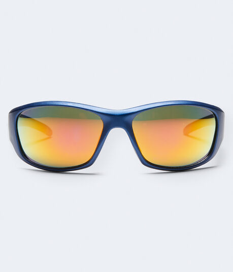 Mirrored Lens Sports-Wrap Sunglasses