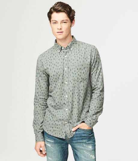Long Sleeve Leaf Print Woven Shirt