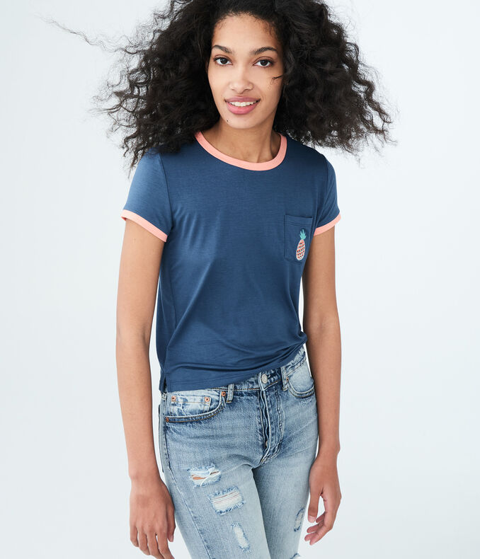 Seriously Soft Pineapple Pocket Girl Crew Tee by Aeropostale