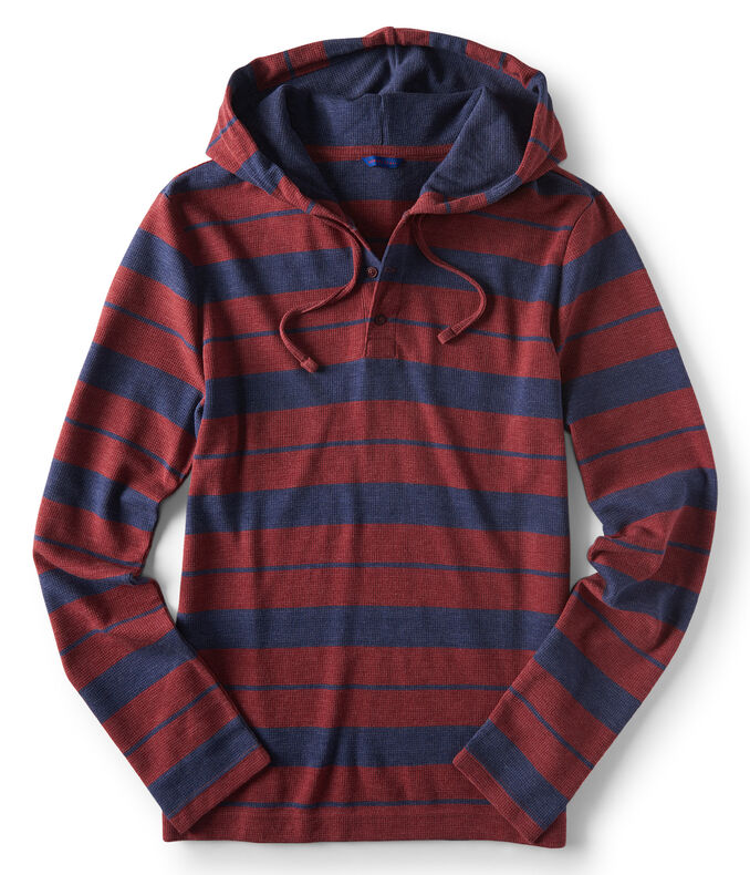 Long Sleeve Striped Thermal Hooded Henley