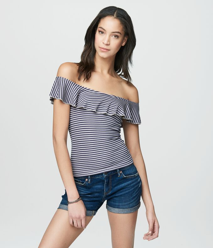 Cape Juby Striped Ruffle Bodycon Top