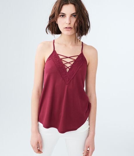 Solid Lace-Up V-Neck Tank