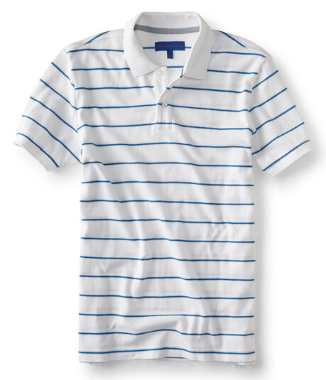 Thin Stripe Stretch Pique; Polo