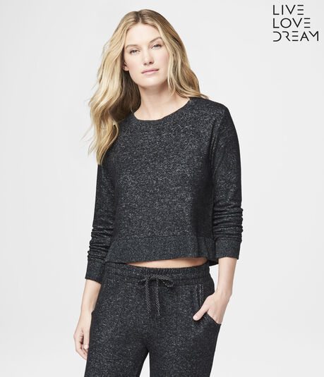 LLD Long Sleeve Fuzzy Fleece Crop Sleep Top