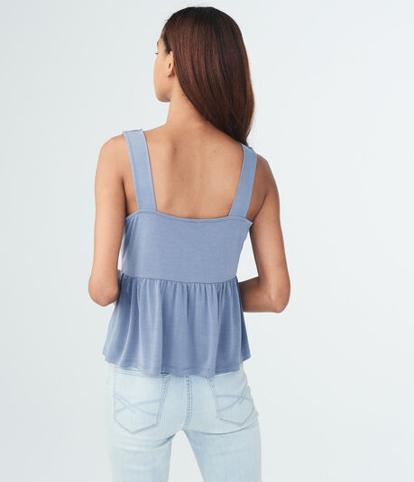 Solid Lace-Up Peplum Tank