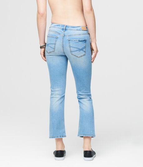 Skinny Kick Flare Destroyed Light Wash Crop Jean
