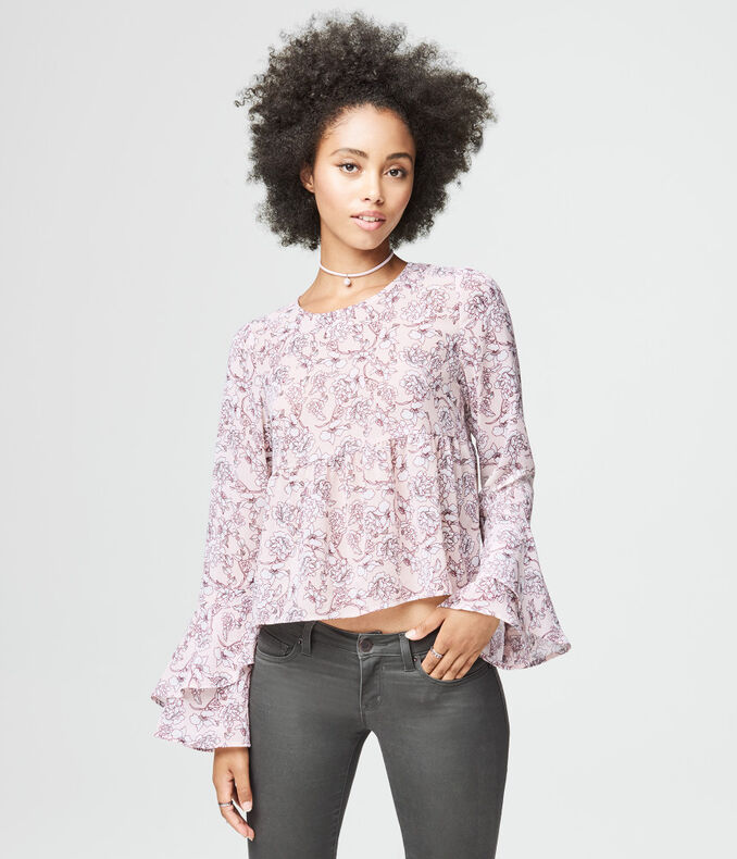 Long Bell Sleeve Floral Print Top