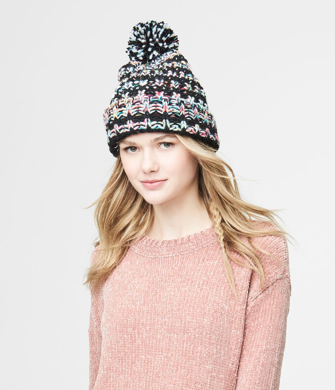 Chunky Dark Stripe Marled Knit Hat