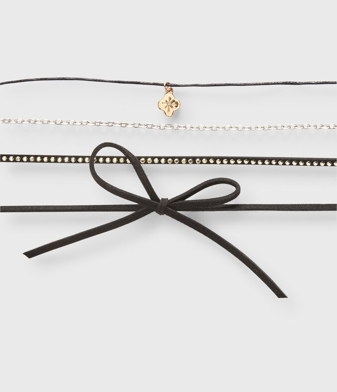 Bow Choker Short-Strand Necklace 4-Pack