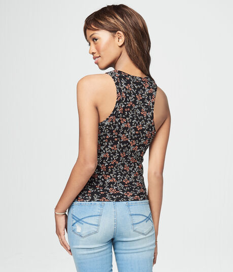 Floral High-Neck Bodycon Tank