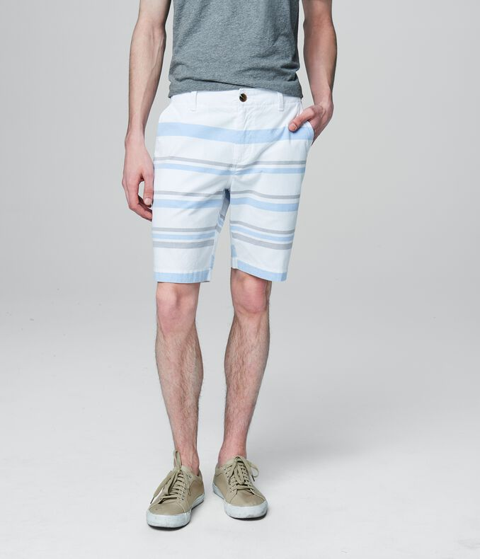 Wide Stripe Flat-Front Shorts