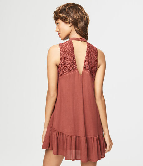 Solid High-Neck Ruffle Shift Dress