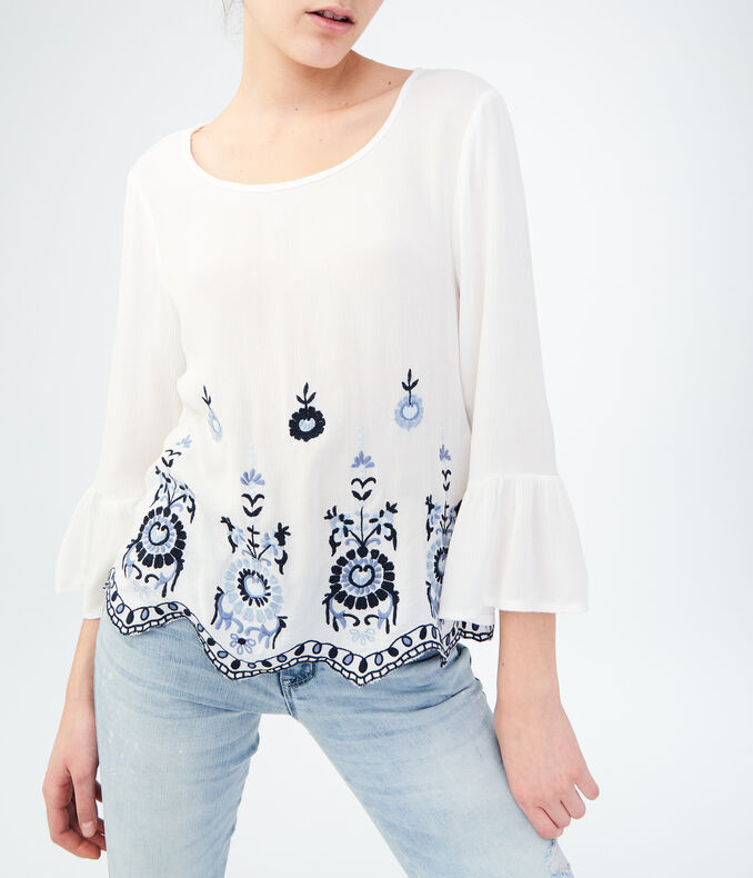 Long Sleeve Embroidered Top