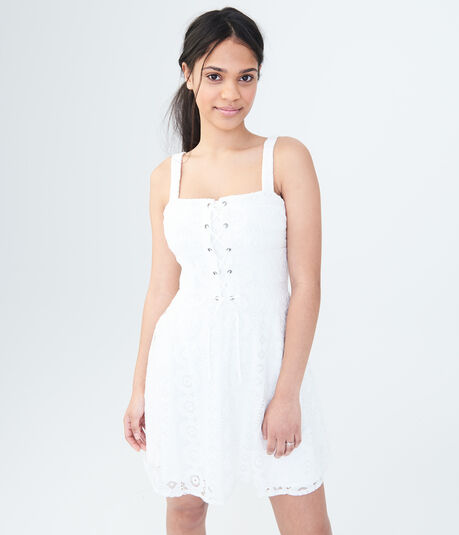 Solid Lace-Up Fit & Flare Dress