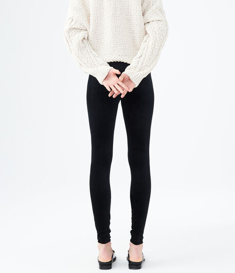 Solid Velvet Ankle Leggings