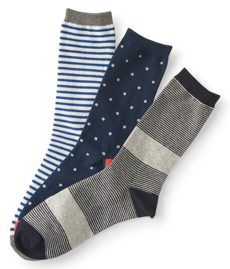 3-Pack Dot & Stripe Crew Socks