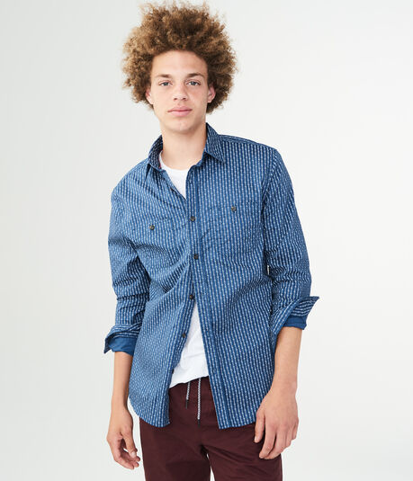 Long Sleeve Vertical Flowered Stripe Woven Shirt