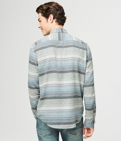 Long Sleeve Striped Flannel Woven Shirt