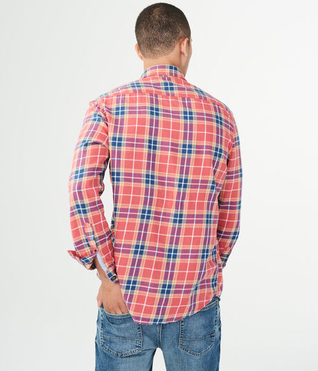 Long Sleeve Plaid Twill Woven Shirt
