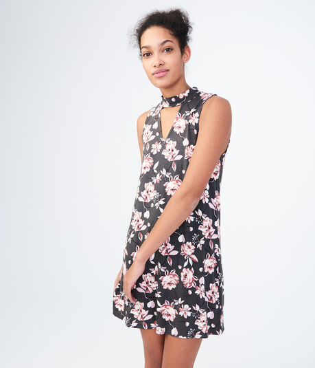Floral Choker Swing Dress