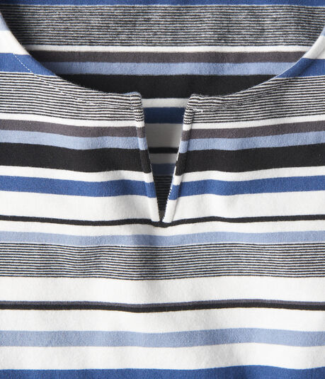 Striped V-Notch Ribbed Top