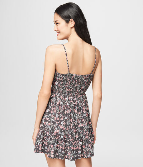 Floral V-Neck Wrap-Front Fit & Flare Dress