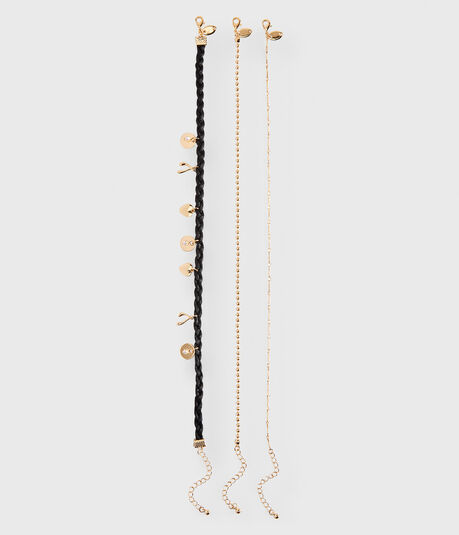 Braided Charm Choker Short-Strand Necklace 3-Pack