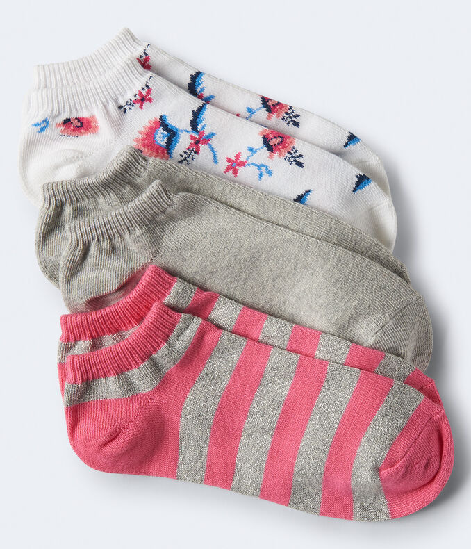3-Pack Floral, Solid & Stripe Ankle Socks