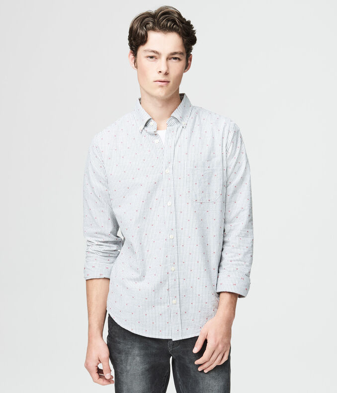 Long Sleeve Striped Dobby Woven Shirt