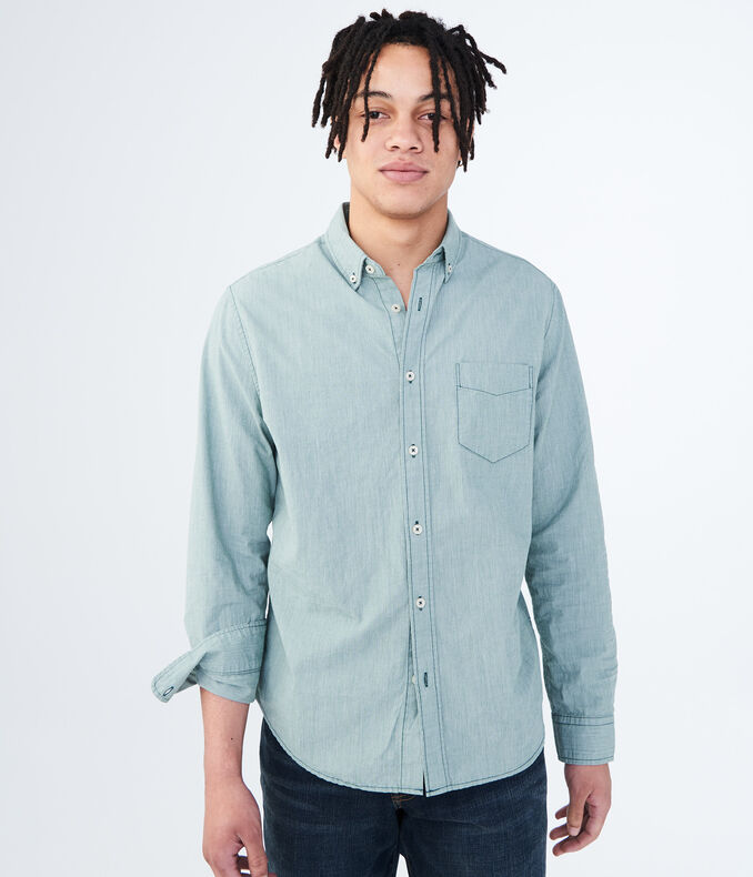 Long Sleeve Solid Woven Shirt